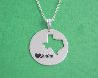 Texas State Name Necklace / Texas Lover Name Necklace / Any State Name Necklace / Engraved State Disk / Custom Map Necklace / Name State