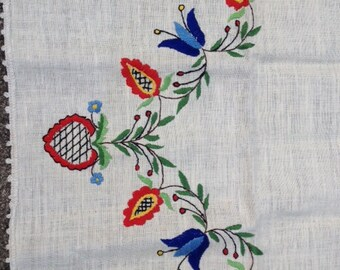 Vintage Table Cloth Table Runner Retro Flower Design 40x19.75 Inches