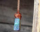 Rainbow Titanium Quartz Necklace /  Flame Aura Quartz Stick Copper Wire Wrapped Necklace