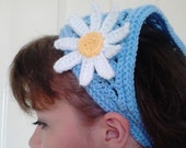 Girls Crochet Hair Kerchief Blue One Size