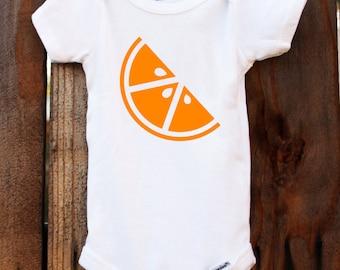 orange onesie orange slice baby customizable colors vinyl