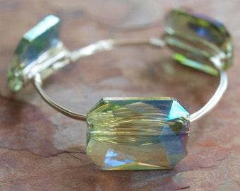 Wire Wrapped Bangle Bracelet | Green Glass Luster Bead Wire Wrapped Bracelet | Wire Wrapped Bracelet | Wire Wrapped Bangle