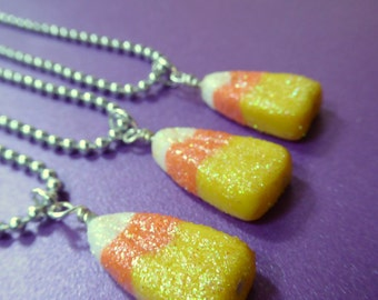 Candy Corn Charm Necklace, Candy Corn Necklace, Halloween Candy Necklace, Glitter Charms, Polymer Clay Charms, Miniature Food Jewelry