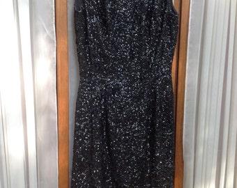 STUNNING BLACK Vintage Beaded.Sequin short Party ,Formal ,Evening dress
