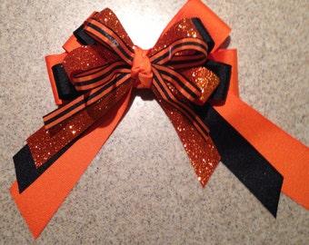 Orange and Black Hairbow