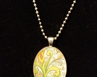 Free-style Flower Chiyogami Pendant