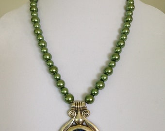 Green Glass Pearls with Multi Colored Spackled Pendant Necklace