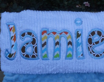 Monogrammed Baby Blanket Baby Blue Dot Minky and White Chenille, Personalized with Your Baby Boy's First Name in Blues & Browns