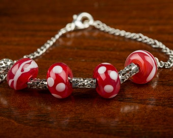 Pink Spotted Glass Bead Bracelet, Lampwork Beads, Silver Chain