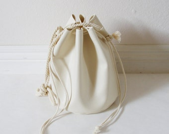 Ships next day SALE Faux leather drawstring bucket bag with cotton rope