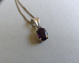 Tanzanite Oval and Silver Pendant and Chain Necklace