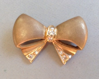 Beautiful 14K Brushed and Shiny Gold With Diamonds Bow Pin/Brooch