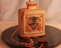 Vintage 1970's Ceramic Owl Bell, Owl Wind Chime, Owl Decor, Retro Owl