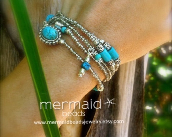 Turquoise Silver Stretch Wrap Bracelet Convertible to Waist Beads Belly Chain Anklet Necklace Choker Arm Band Body Jewelry Boho Bikini Gifts
