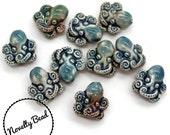 10 - Small - Octopus Beads - Nautical - Steampunk - Cthulu - Novelty - Ceramic - Raku