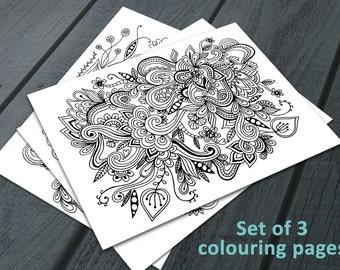 Doodle Adult Colouring Pages, Printable Colouring Pages Zen Doodle Art Floral Mandala