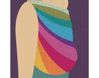 Babywearing Art Print Back Carry Northern Lights Baby Sling Giclee Art Print Gift