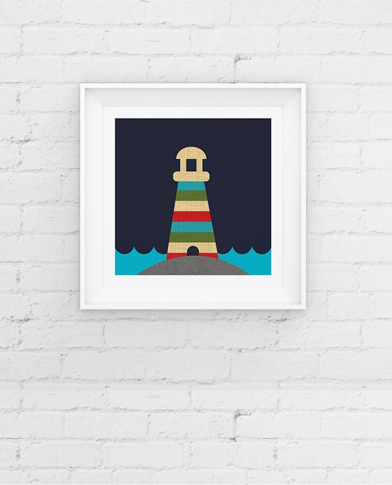 Nautical Lighthouse Nursery Art Print