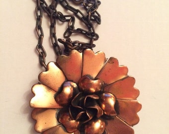 Statement Copper Flower Pendant Necklace - Vintage Costume Jewelry for casual and formal wear
