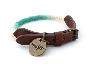 Rough Rope Dog Collar - Ombre Teal Robin Egg Blue