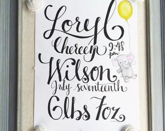 Your Custom Baby Announcement ~ Original Hand Lettered/Calligraphy Wall Art