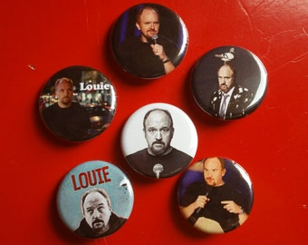 """Louis CK set of 6 pin back buttons 1.25"""""""
