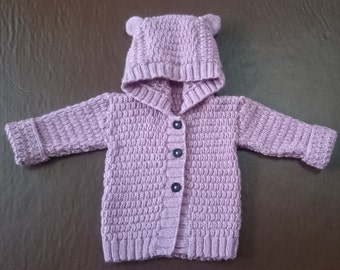 Hand-knitted bear ears hooded baby cardigan