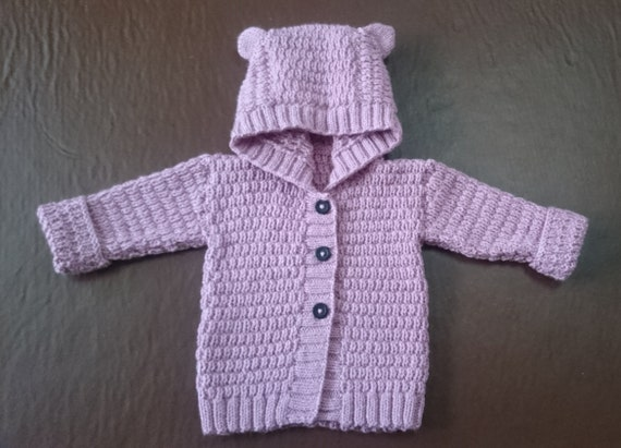 Knitting Pattern For Baby Cardigan With Hood And Ears : Hand-knitted bear ears hooded baby cardigan by Knitterists ...