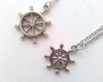 Small Silver charm Ship wheel pendants