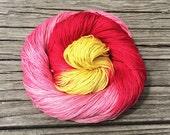 Hibiscus - Cotton Fingering Yarn - Hand Dyed Yarn - Sock Yarn - Pima Cotton Yarn - Hand Dyed Cotton Yarn Variegated - Pink Yarn Yellow Yarn