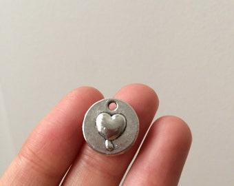 10 Love Heart Coin Charm Antique Silver 2 Sided #0378