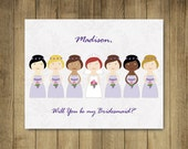 Custom Bridesmaid cards - Will You Be My Bridesmaid cards, Matron of Honor, Maid of Honor. PDF printable, free shipping lavender