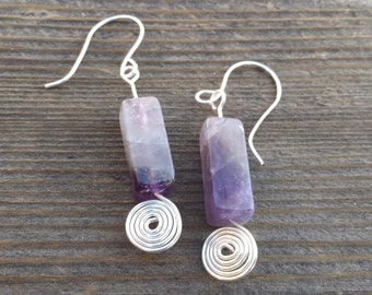 WIRE WRAPPED EARRINGS Amethyst in Silver Handmade