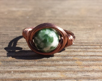 WIRE WRAPPED RING Tree Agate in Antiqued Copper Handmade