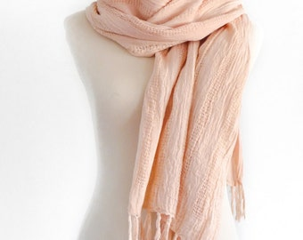 Cotton Scarf / Beach Wrap - Hand Dyed - Handwoven Cotton - Eco Dyed Scarf - Eco Fashion - Eco Dyed Accessories - Light rosy