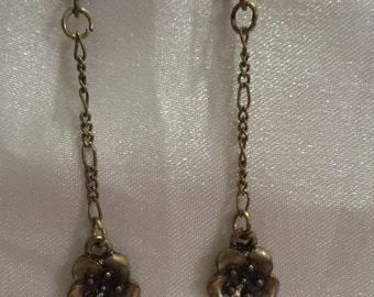 Bronze cast metal flower earrings