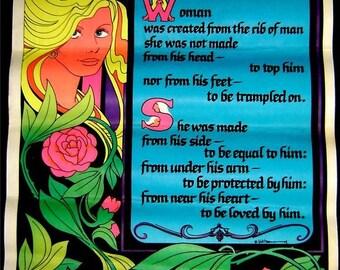 BIG~Vintage 1974 BLACKLIGHT~WOMAN~Garden of Eden Flocked Poster