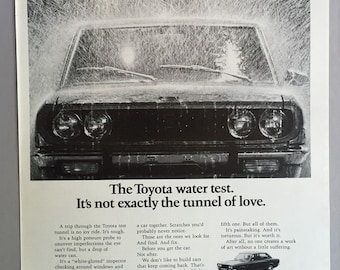"""1971 Toyota Print Ad - """"It's not exactly the tunnel of love"""""""