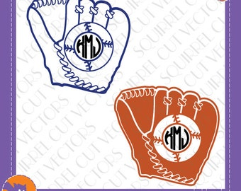 Baseball Monogram Frames SVG DXF EPS Cutting files