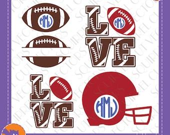 Footballs, Football love, Football Helmet Monogram Frames SVG DXF EPS Cutting files