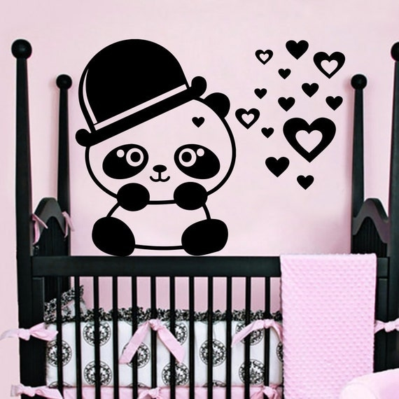 Wall Decal Panda Wild Bear In Hat Animal Heart By