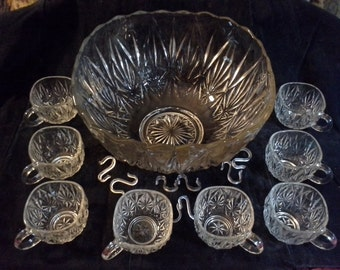 Vintage Hazel Atlas clear glass Williamsport pattern punch bowl with 8 matching cups/glasses and 9 hooks
