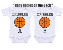 Personalized Twin Onesies, Twin Baby gifts Basketball Sports Twin Outfit, Matching Twin Outfits Set, Twin baby clothes, Twin Babyshower gift