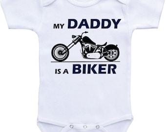 Motorcycle Onesies My Daddy is a Biker, Daddy Bike Rider baby shirt for baby boy or baby girl, Born to ride onesie, biker baby