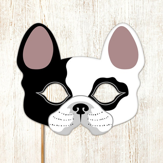 Dog mask french bulldog boston terrier printable by for Dog mask template for kids