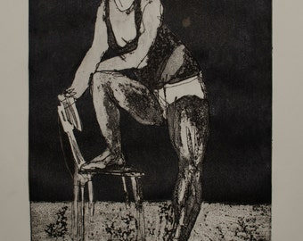 Girl with a chair - etching