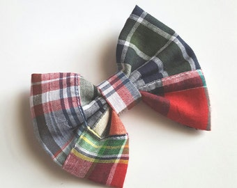 Fabric bow hair clip - plaid bow - plaid hair bow newborn headband - toddler headband - baby headband - infant headband- teen headband