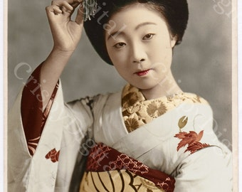 Geisha Photo Vintage Image in Kimono w/Kanzashi Hair Ornaments Geisha Digital Download Antique Japanese Photo