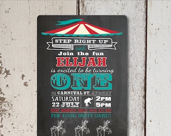 Retro Circus First Birthday Invitation Printable for Boy  Girl, Vintage 1st party,  Chalkboard Circus Theme, Vintage Circus, Chalk Birthday
