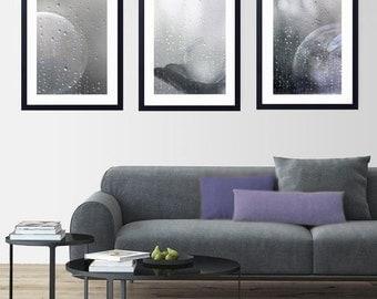 Photo Trio Rain Dance, Set of 3, Fine Art Print, Photography bubbles, Grayscale, Still Life, Shabby chic,